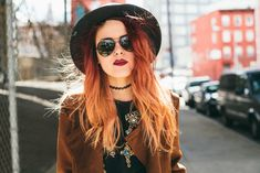 Luanna Perez vintage look. black hat, vintage sunglasses, red ombre hair, red lips<3