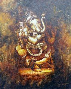 Bishwaranjan bhunia Lord Ganesha Paintings, Ganesha Art, Indian Gods, Indian Art, Shri Ganesh Images, Happy Ganesh Chaturthi Images, Shiva Lord Wallpapers, Indian Paintings, Mural Painting