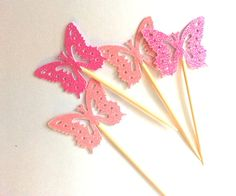 12 Pink Glitter Butterfly Party Picks / Cupcake by NikkiCrafts, $2.75