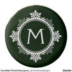 Snowflake Wreath Monogram in Dark Green & White Chocolate Covered Oreo A snowflake wreath monogram in dark green and white. Simply, classically seasonal.