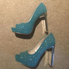 Teal Rhinestone Suede Stilettos 8 Brand new Shoes Heels