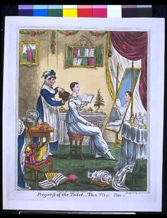 Progress of the Toilet - The Wig   Gillray, James. Early 19th c. Caricature depicting a lady sitting in front of a dressing table, with an open book, while a maid is about to place on her head a brown wig.