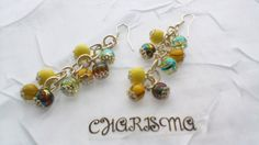 Long Silver Plated Chain Earrings  Yellow by CharismaJewellery