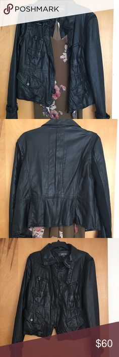 🏍🔥 Kenneth Cole Reaction Faux Leather Jacket XL Genuine Kenneth Cole Reaction faux leather Moto jacket Sz XL! So cute over dresses for cool summer nights! (Note: dress not for sale) Some wear on collar and back shown in pics but just looks like natural leather wear! Kenneth Cole Reaction Jackets & Coats
