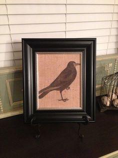 Halloween burlap decor art Raven by WellNestedDesign on Etsy, $21.25