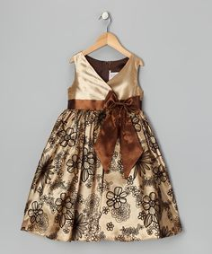 Look at this #zulilyfind! Brown Velvet Flocked Dress - Toddler & Girls by Kid's Dream #zulilyfinds