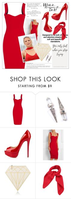 """""""Look # 782"""" by lookat ❤ liked on Polyvore featuring Victoria Beckham, Christian Louboutin, Charlotte Olympia, WALL, RedCarpet, red and blake"""