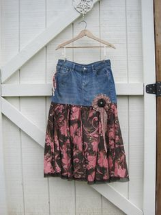 Boho cowgirl skirt, Prairie skirt denim, denim cowgirl skirt, Long prairie skirt, funky romantic skirt medium upcycled medium Ready to ship via Etsy.