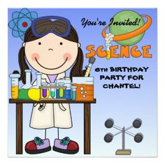 A girl in the science lab surrounded by test tubes, beakers, and areas you can…
