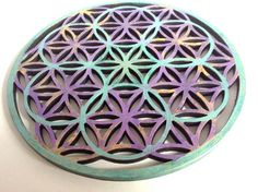 Flower of life Painted Wooden Plate Sacred Geometry by AUMBRATRIBE