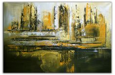 Goldene Stadt - #Malerei abstrakt silber und gold - #Gemälde XXL im querformat www.burgstallers-art.de/online-shop