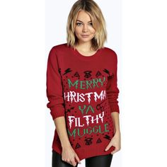 Boohoo Erin Ya Filthy Muggle Christmas Jumper ($26) ❤ liked on Polyvore featuring tops, sweaters, red, chunky sweater, wrap sweater, turtleneck sweater, red christmas sweater and red sweater