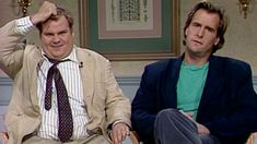 On his celebrity talk show, Chris Farley interviews actor Jeff Daniels but, instead of asking pertinent questions, the nervous, self-conscious Farley asks inane questions like if Daniels remembers certain scenes from his films. [Season 17, 1991]