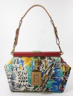 AUTH PRADA Multicolor Canvas Patent Leather Trim Venice Shoulder Handbag at  www.ShopLindasStuff.com 00c6fcdae1e3a