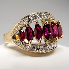 Natural Marquise Ruby & Diamond Ring 14K Yellow & White Gold