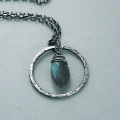 Labradorite Necklace - Marquis in Hammered Ring - Sterling Silver - Oxidized