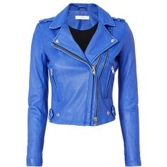 Dylan Blue Leather Moto Jacket ($1,295) ❤ liked on Polyvore featuring outerwear, jackets, blue, moto jackets, leather jackets, blue motorcycle jacket, biker jackets and rider leather jacket