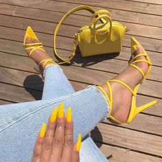 POADISFOO Sexy Yellow Pointed Fish Mouth Cross Stilettos Sharp Point T - Live a Classic Styles