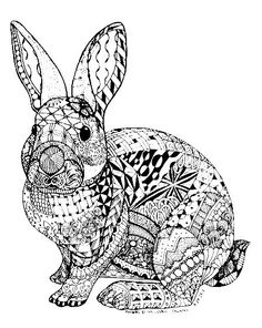 Little Bunny and Duck painting Easter Egg coloring page ...