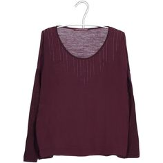 COMPTOIR DES COTONNIERS Top bimatière Rouge ($90) ❤ liked on Polyvore featuring tops, sweaters, bourgogne, shirts, jersey shirt, shirt sweater, jersey sweater, purple top and flare shirts
