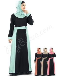 Beautiful Black and Sky Blue Party Wear Abaya| MyBatua.com  Sameen Abaya!  Style No : AY-338  Shopping Link : http://www.mybatua.com/sameen-abaya   Available Sizes XS to 7XL (size chart: http://www.mybatua.com/size-chart/#ABAYA/JILBAB  •Straight Abaya with round neckline •Dual color panel attached at wasit line •Non-functional loop detailing with fabric buttons at waist line •Sequin lace all round at bottom •Straight sleeves