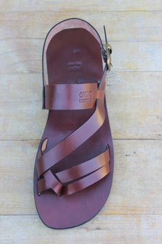 Fabulous Man And Woman Summer Flat Leather Strap Sandals - Conquest. $70.00, via Etsy.