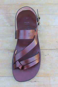 Men's Summer Flat Leather Strap Sandals - Conquest. $70.00, via Etsy.