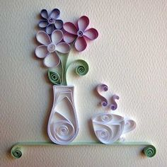 Pretty Quilled Vase and Teacup paper quilling patterns for your home decor