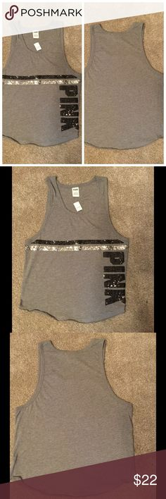 New VS PINK tank top New Victoria secret PINK grey tank with black and sliver sequins. Size large. PINK Victoria's Secret Tops Tank Tops