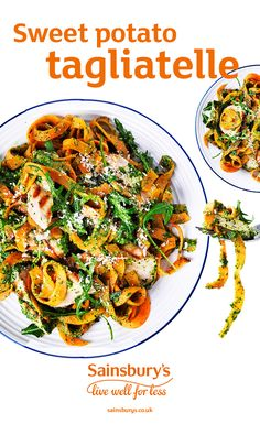 Swap your usual pasta for this lighter sweet potato tagliatelle. Top it with chicken and rocket pesto for a mid-week winner. Uk Recipes, Veggie Recipes, Italian Recipes, Vegetarian Recipes, Cooking Recipes, Recipies, Yummy Chicken Recipes, Good Healthy Recipes, Vegetarian Canapes