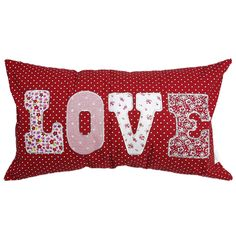Red Spotty Love Cushion | DotComGiftShop