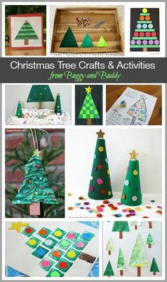 Super Cute Christmas Tree Crafts & Activities for Kids- Including paper trees, felt tree fine motor activity, homemade cards, and more! ~ http://BuggyandBuddy.com