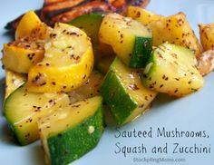 Sauteed Mushrooms, Squash and Zucchini is a healthy side dish recipe #Paleo #GlutenFree #Healthy