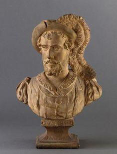 """Plaster bust (1868), by Jean-Pierre Dantan (1800-1869), of Jean-Baptiste Faure (1830-1914), as Hamlet, in """"Hamlet"""" (1868), by Ambroise Thomas (1811-1896)."""
