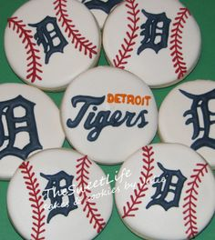 I was asked to make these during the playoffs this year. Hope I didn't bring them bad luck; Tiger Cupcakes, Tiger Cookies, Detroit Tigers Cake, Detroit Tigers Baseball, 50th Birthday Cupcakes, Cookie Designs, Cookie Ideas, Baseball Cookies, Baseball Birthday