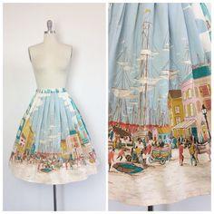 50s Scenic City Border Print Skirt / 1950s Vintage Novelty Print Town Shirt Skirt / OSFM