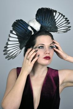Magpie Feather Fascinator in dramatic Full Open by MissFloraG