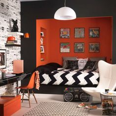 Teen boy bedroom decor cool bedroom designs for teenagers boys teen bedroom decorating ideas awesome teen Orange Rooms, Bedroom Orange, White Bedroom, Monochrome Bedroom, Charcoal Bedroom, Dream Bedroom, Girls Bedroom, Bedroom Decor, Boys Bedroom Ideas Tween