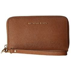 Michael Kors Jet Set Travel Large Luggage Brown Flat Phone Wristlet Wallet | Overstock.com Shopping - The Best Deals on Women's Wallets