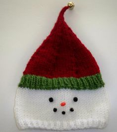 Snowman Hat, Hand Knit for Newborn, with Bead Face and Jingle Bell. | GieseDeseiGns - Knitting on ArtFire