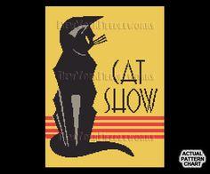Art Deco Cat Cross Stitch Cat Cross Stitch by NewYorkNeedleworks