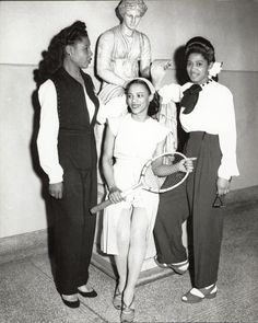 BLACK STYLE | LATE 1940s Three women, one holding a tennis racket, before a statue at Schenley High School, Pitssburgh, PA. Credit: Charles Teenie Harris, photographer. Teenie Harris Photograph Collection, 1920-1970, Carnegie Museum of Art via Black History Album, The Way We WereFollow us on TUMBLR  PINTEREST  FACEBOOK  TWITTER