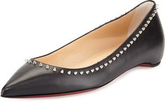 Something for everyone   CHRISTIAN LOUBOUTIN ANJALINA STUDDED RED SOLE FLAT, BLACK