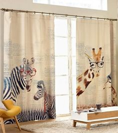 Window Panel Drape Curtain With Zebras or Giraffes Print. One Panel 51W. Custom Length Available.    Light blocking rate of triple woven fabric