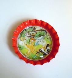 Bambi bottle cap magnet. $1.25, via Etsy.