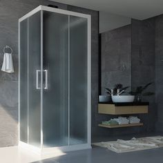 MAYA Cabine de douche H 190 cm verre semi-opaque 75 x 75 cm