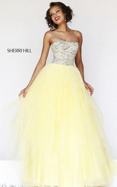 Senior Sequins Sherri Hill 11085 Yellow Prom Dress 2015