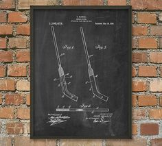 Hockey Stick Patent Wall Art Poster by QuantumPrints on Etsy
