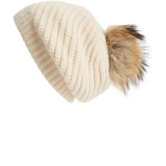 Linda Richards Slouchy Angora Blend Beanie with Genuine Raccoon Pom ($85) ❤ liked on Polyvore featuring accessories, hats, creme, cream beanie, slouchy pom pom beanie, angora hats, slouch hat and slouch beanie hats