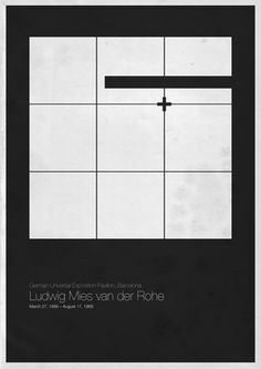Minimalistic poster design for architectural masters exhibition - Ludwig Mies van der Rohe German Universal Exposition Pavilion - Barcelona